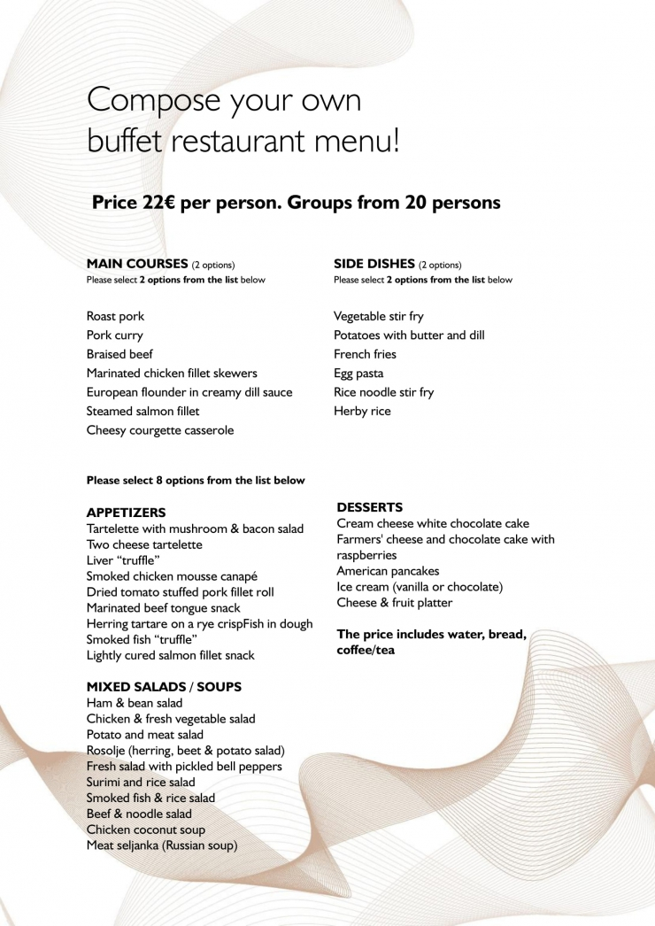 Buffet restaurant menu for groups