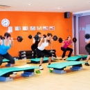 Wide variety of group trainings takes place in big aerobics hall