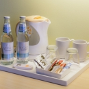 Superior rooms offer a welcome water and an option to make tea or coffee.