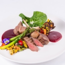 Rack of lamb / Lamb fillet / Black quinoa / Seasonal vegetables / Cherry sauce